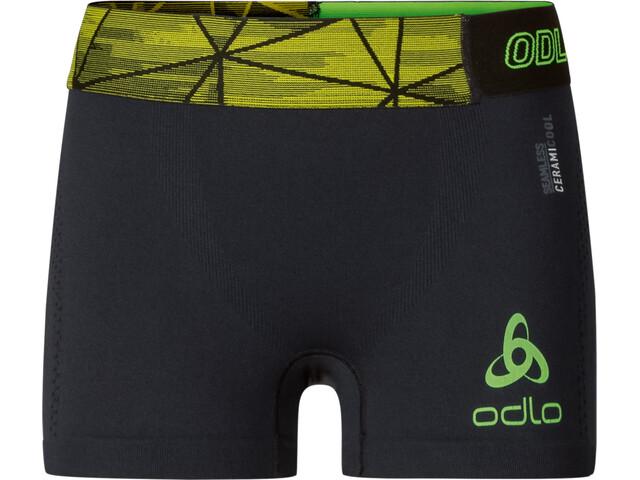 Odlo M's Ceramicool Seamless Shorts black-safety yellow